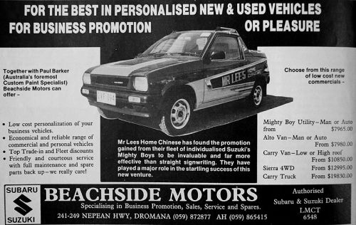 Advertisement for Beachside Motors